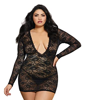 Dreamgirl Women s Plus Size Plunge-Front Lace Chemise at Amazon Women s  Clothing store  9778120dc