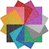 Caydo 12 Sheet Glitter Heat Transfer Vinyl Adhesive 12-Color 10mil, 10 Inch by 10 Inch