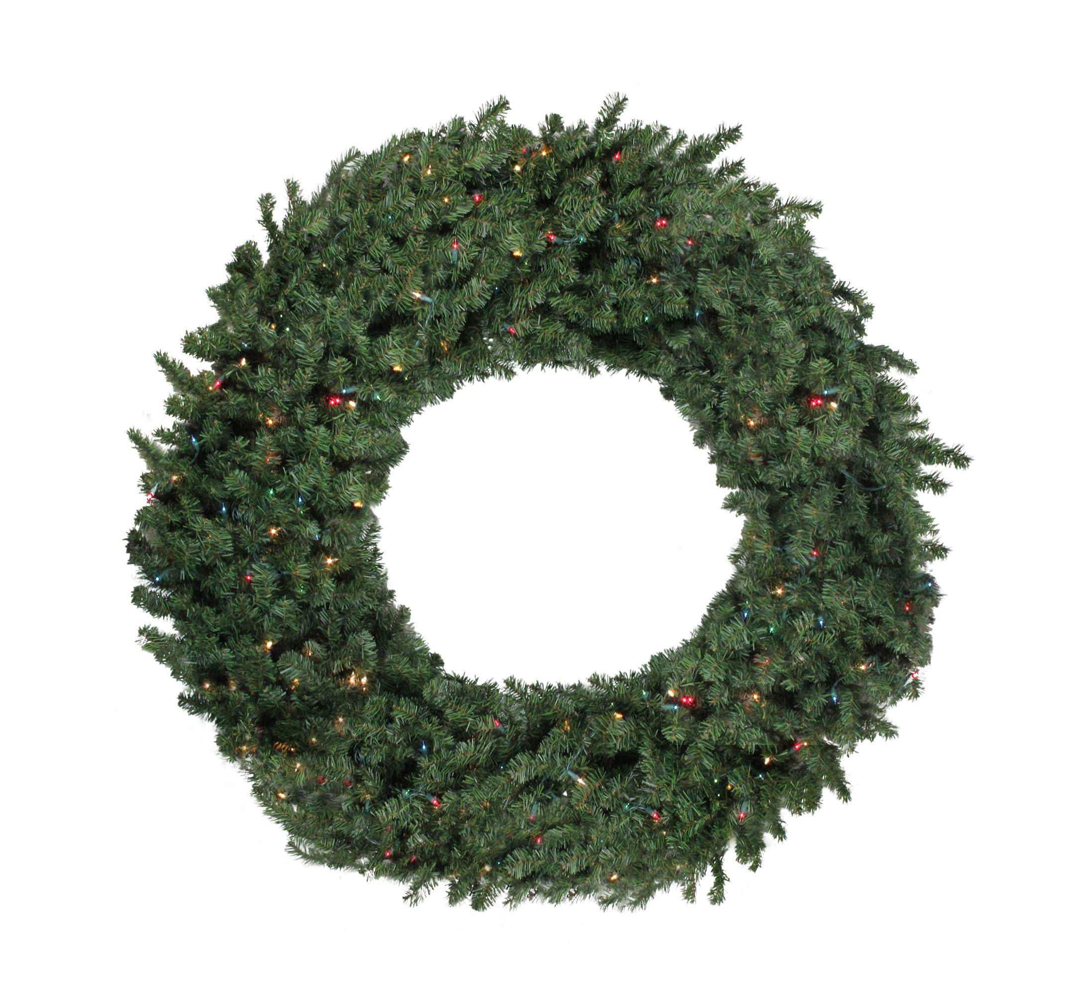 Darice 60'' Pre-Lit Commercial Canadian Pine Artificial Christmas Wreath - Multi Lights