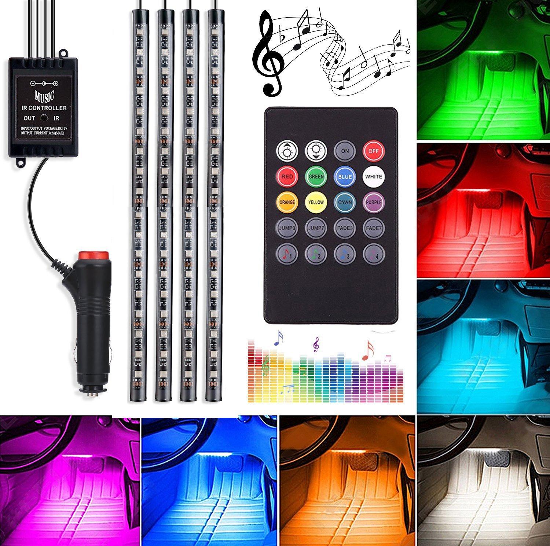 Car Underglow Light, 72 LED Glow Under Car Lights Strip Sound Actived Underglow Lighting Kit Function Running RGB Colors Strips Wireless Remote Control Atmosphere Lights Wanmingtek AUTODELIGHTS