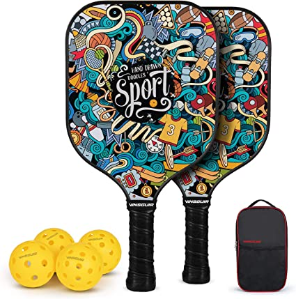 Amazon.com : Vinsguir Pickleball Paddles Set, Pickleball Paddle Set of 2  Rackets and 4 Balls for Outdoor and Indoor, Lightweight Pickleball Racquet,  Raquette Graphite with Portable Pickleball Bag for Men and Women :