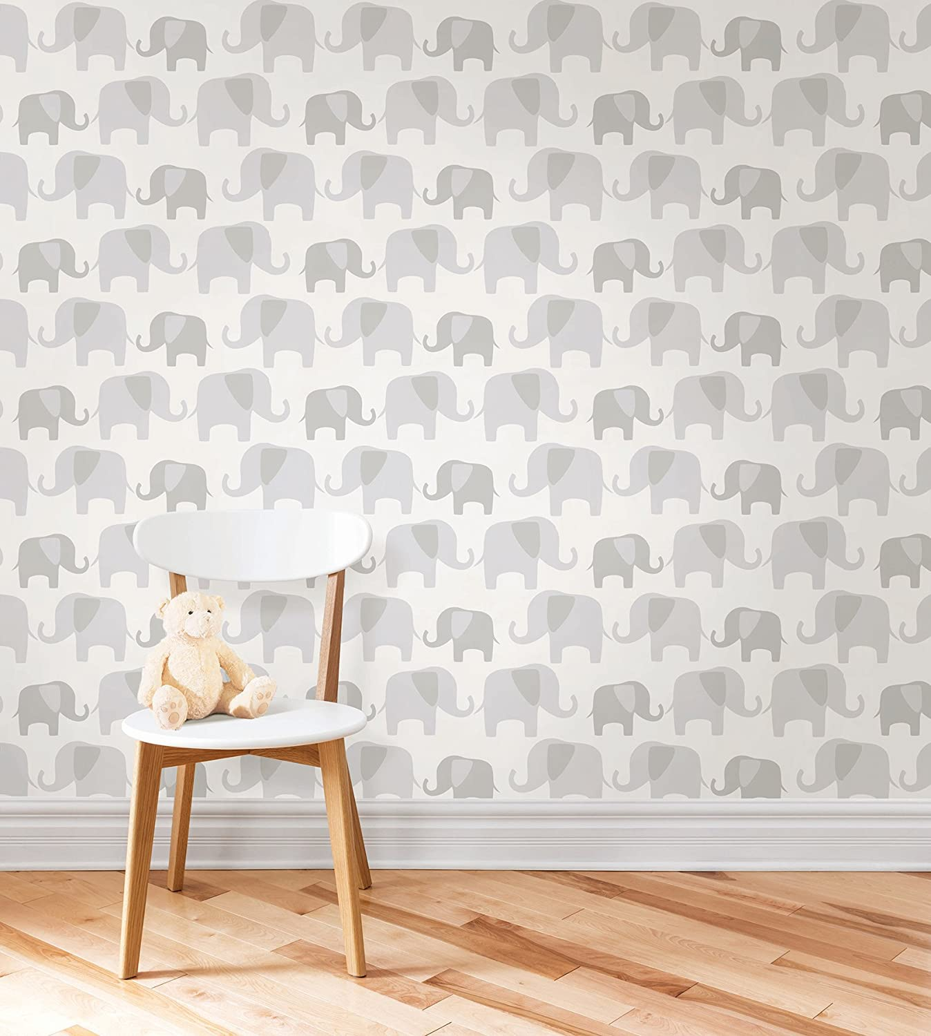 Great Amazon.com: Wall Pops NU1405 Gray Elephant Parade Peel And Stick Wallpaper:  Home Improvement