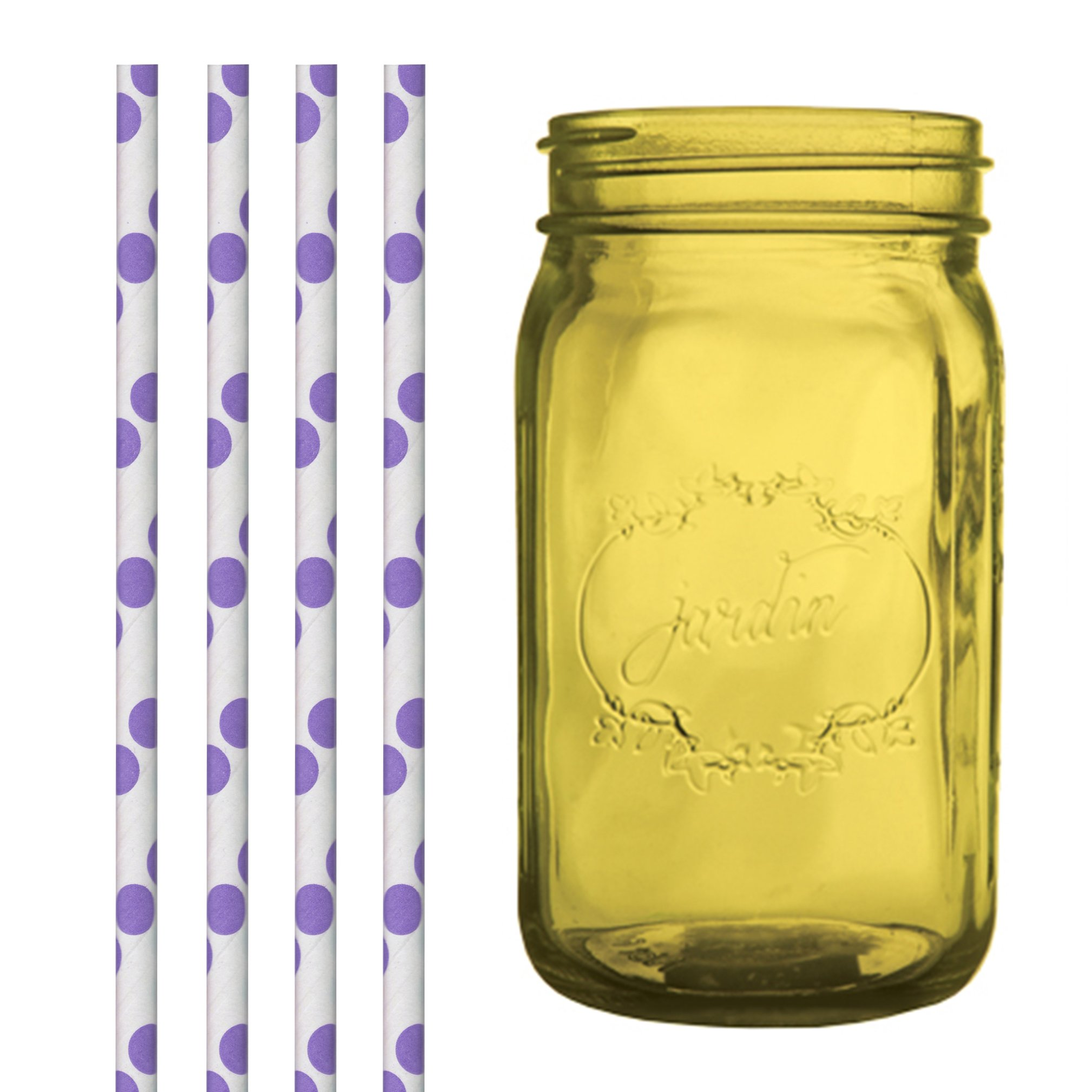 Dress My Cupcake DMC35227 Amber Yellow Vintage Jardin Mason Jar with Purple Polka Dot Straws, 32-Ounce