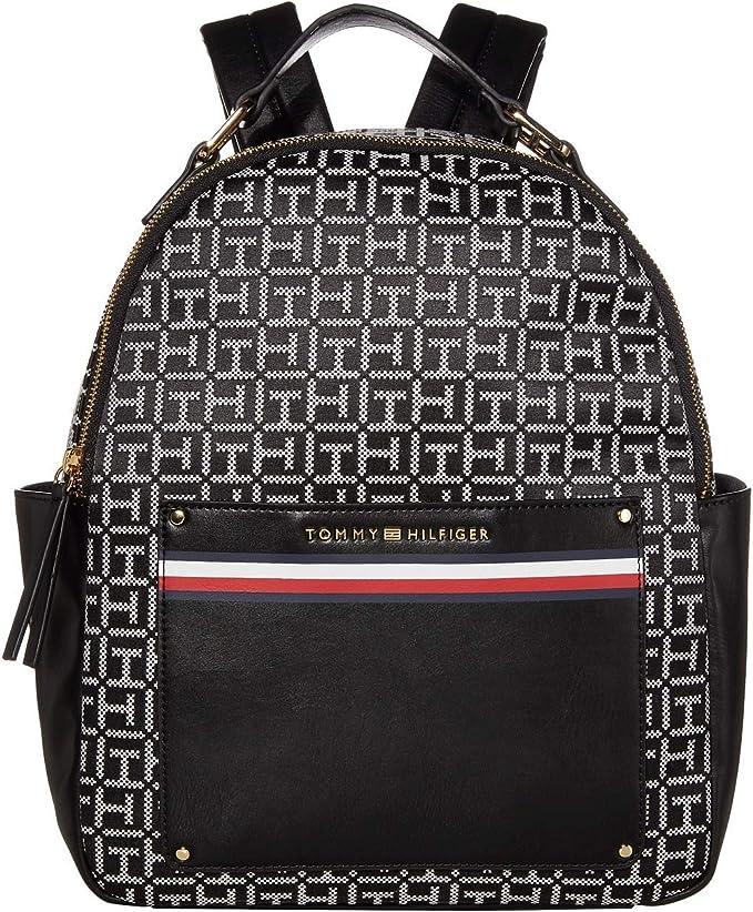 Tommy Hilfiger Womens Backpack Purse Shoulder Bag Pockets Monogram Zip Close New