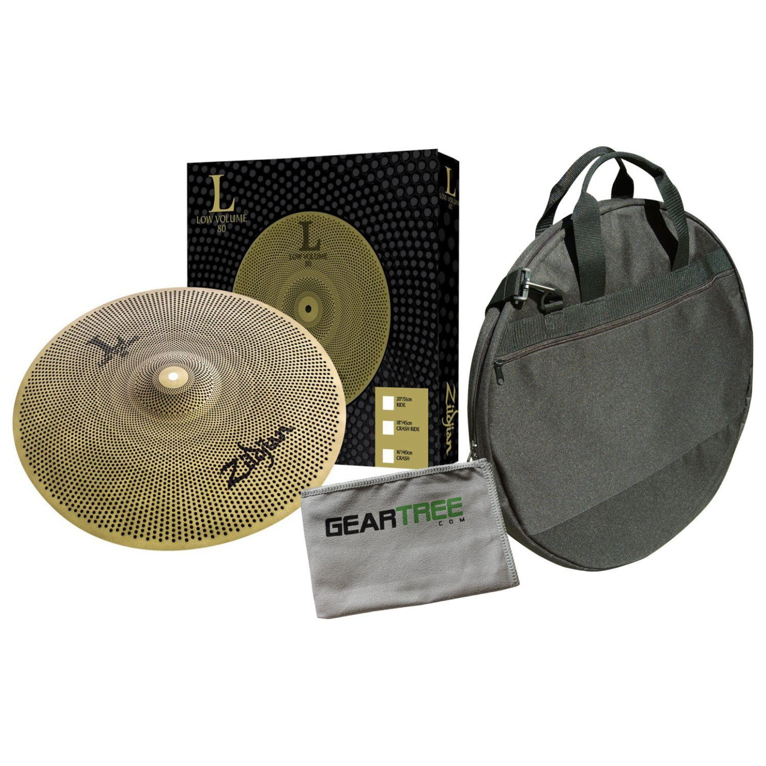 Zildjian L80 Low Volume 20 Inch Ride Cymbal w/Cleaning Cloth and Cymbal Bag by Avedis Zildjian Company