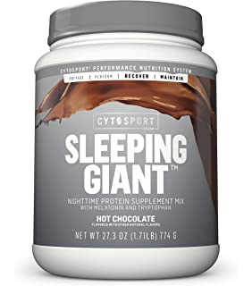 Cytosport Sleeping Giant Nighttime Protein Supplement Mix with Melatonin and Tryptophan, Hot Chocolate, 1.71