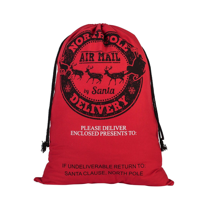 Canvas Christmas Santa Sack Bags - Gift for Kids Large Size (Red - Santa Deer)