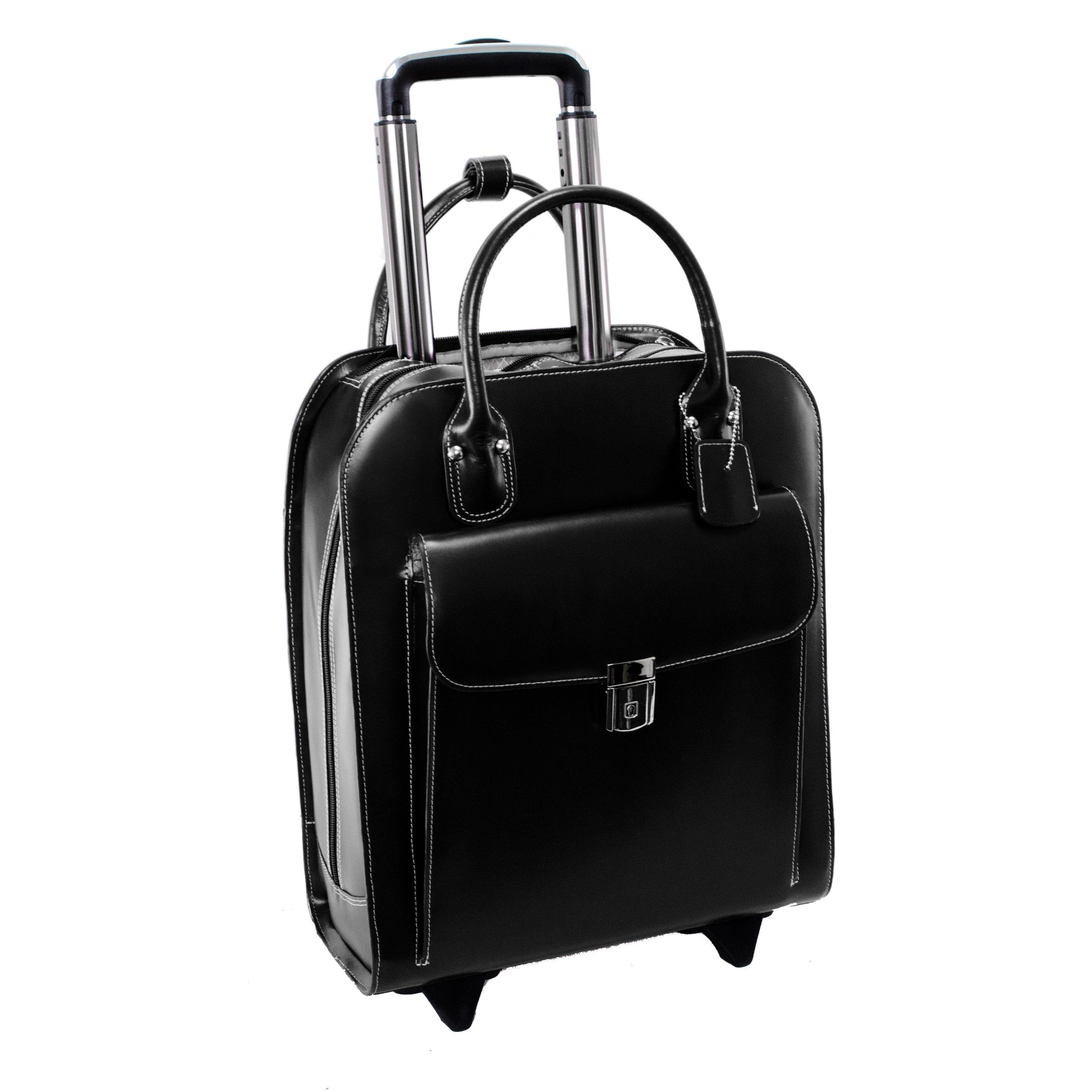 McKlein USA Uptown Black 15.6'' Leather Vertical Wheeled Ladies' Briefcase (97695)