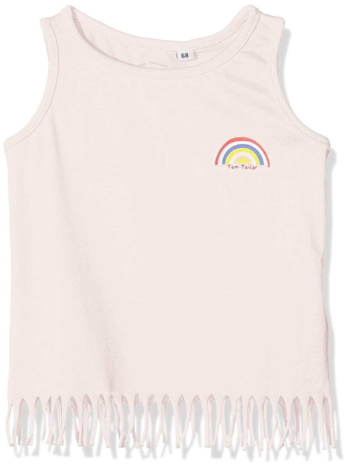 Tom Tailor Tanktop with Fringe And Badge, Vestaglia Bimba Rosa (Quiet Pink 5711) 80 TOM TAILOR Kids 10373820021