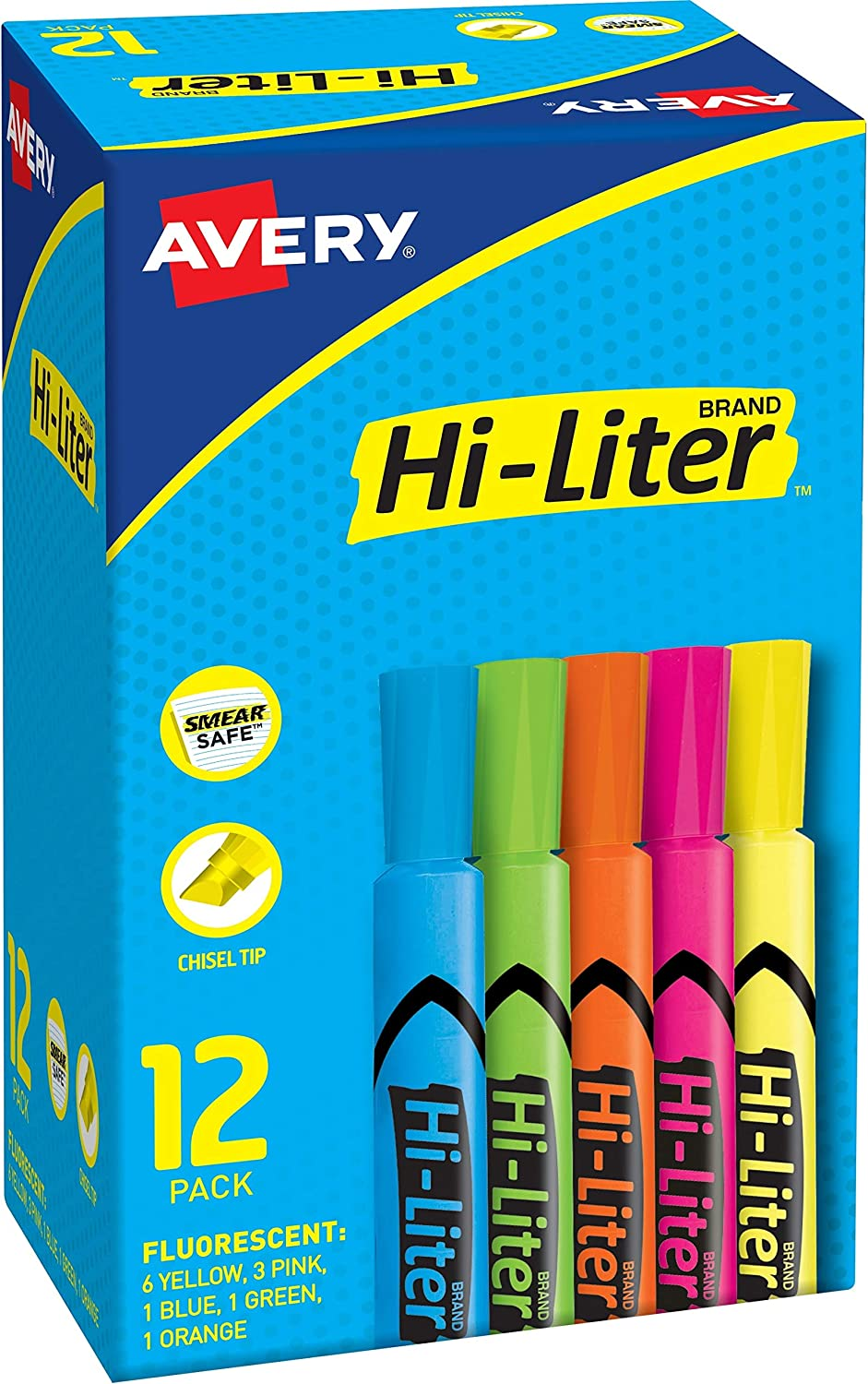 AVERY 98034 Hi-Liter Desk-Style Highlighters, Smear Safe Ink, Chisel Tip is Great for Sketch Book Art, 12 Assorted Colors : Highlighters : Office Products