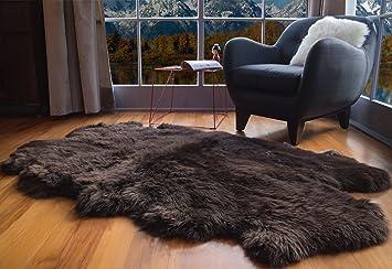 Amazon Com Super Area Rugs Genuine Large Sheepskin Rug 4x6 Fluffy Soft Area Rug Brown Quarto Furniture Decor