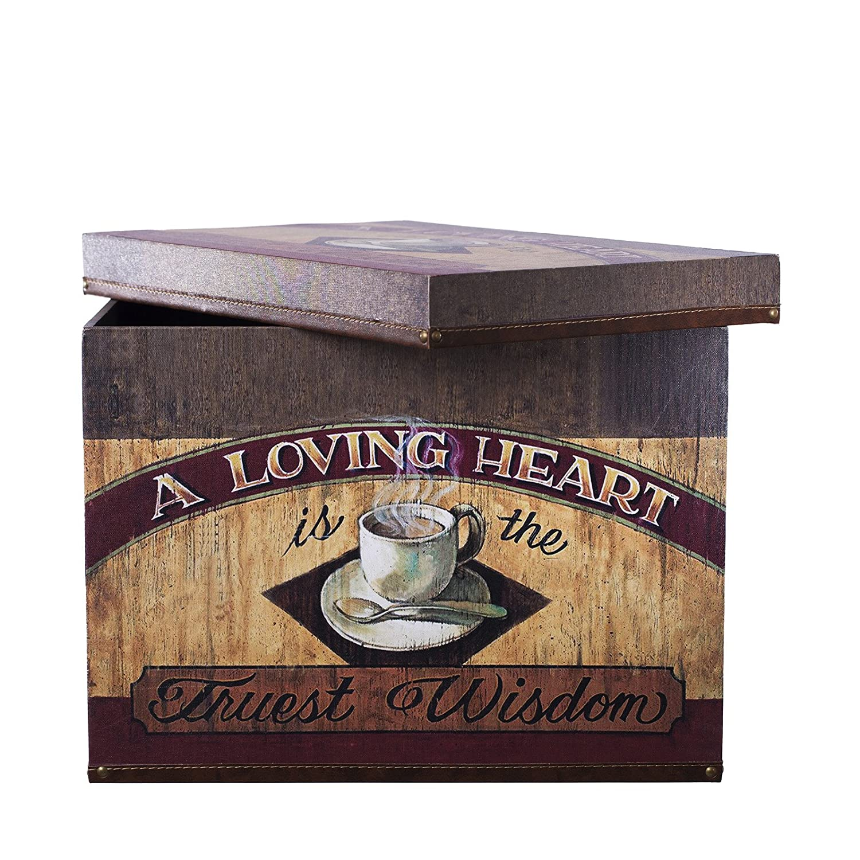 Truhe Kiste SJ07518 Kaffee, Küche, Cafe, Holztruhe mit Leder bezogen ...
