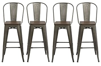 Phenomenal Btexpert Industrial Metal Vintage Antique Copper Bronze Rustic Distressed Dining Counter Height Bar Stool Chair High Back Handmade Wood Top Seat 30 Creativecarmelina Interior Chair Design Creativecarmelinacom