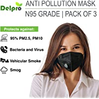 DELPRO PM2.5 N95 Anti Pollution Mask with Activated Carbon Filter, Pack of 3 (Black)