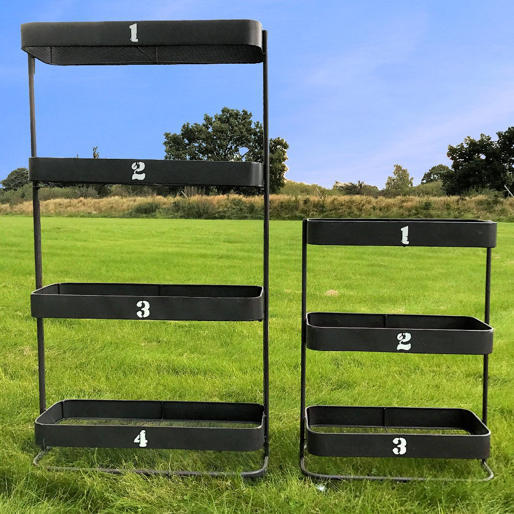 The Farmer's Market Rolling Bin Racks, Set of 2, Caster Wheels, Numbered Metal Shelves, Black Iron, White Numbers, Rustic Chicken Wire, 54 1/4 and 32 1/4 Inches Tall, By Whole House Worlds by Whole House Worlds