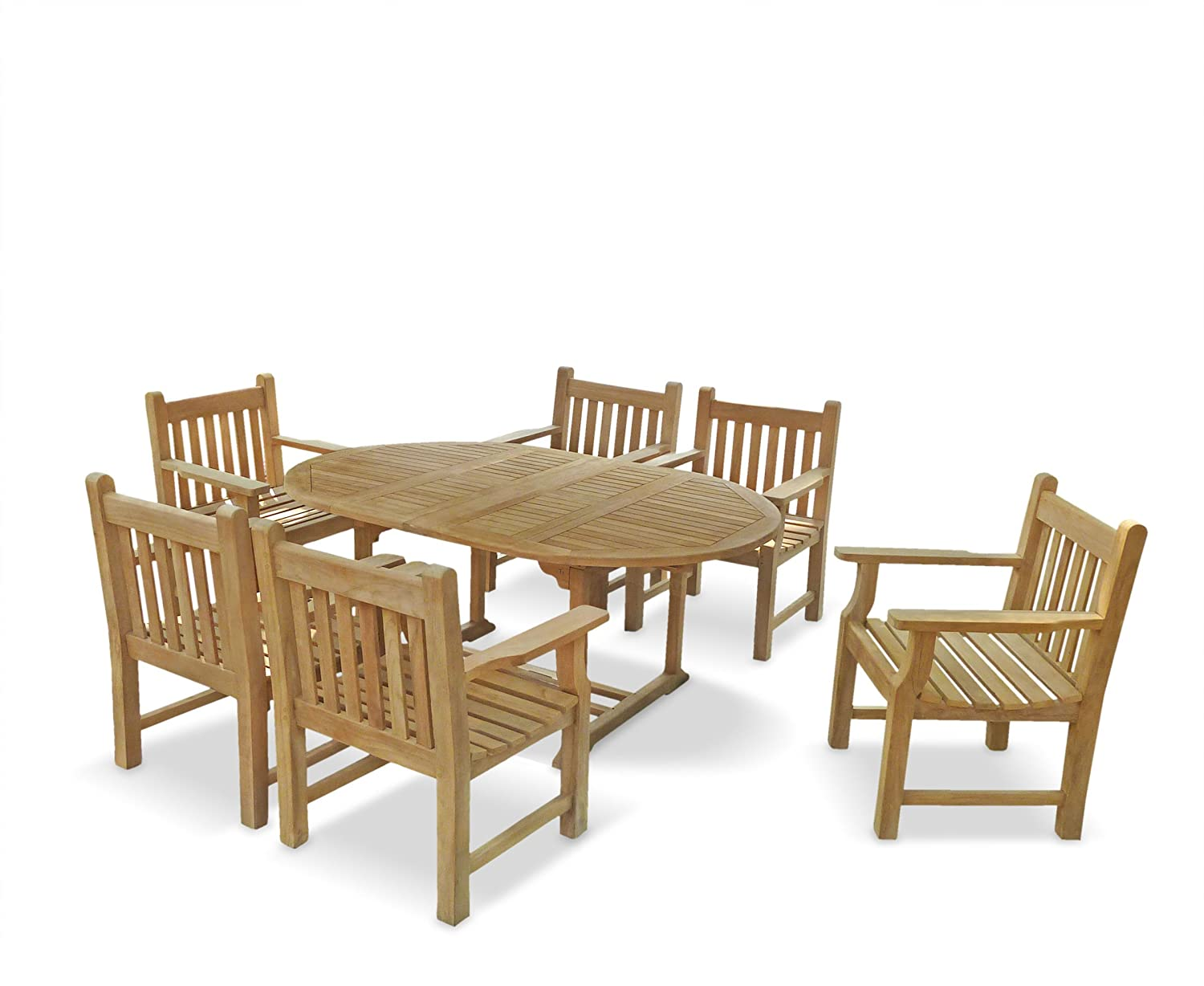 Peachy 6 Seater Teak Garden Dining Set With Extendable Outdoor Cjindustries Chair Design For Home Cjindustriesco