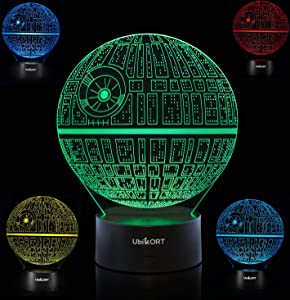 UBIKORT 3D Lamp Illusion Death Star Wars Lamp, Unique Birthday Star Wars Gifts for Men, Perfect Star Wars Decor Night Lights for Kids, Ideal Gift for Star Wars Fans, 7 Colors Change, Wall Charger