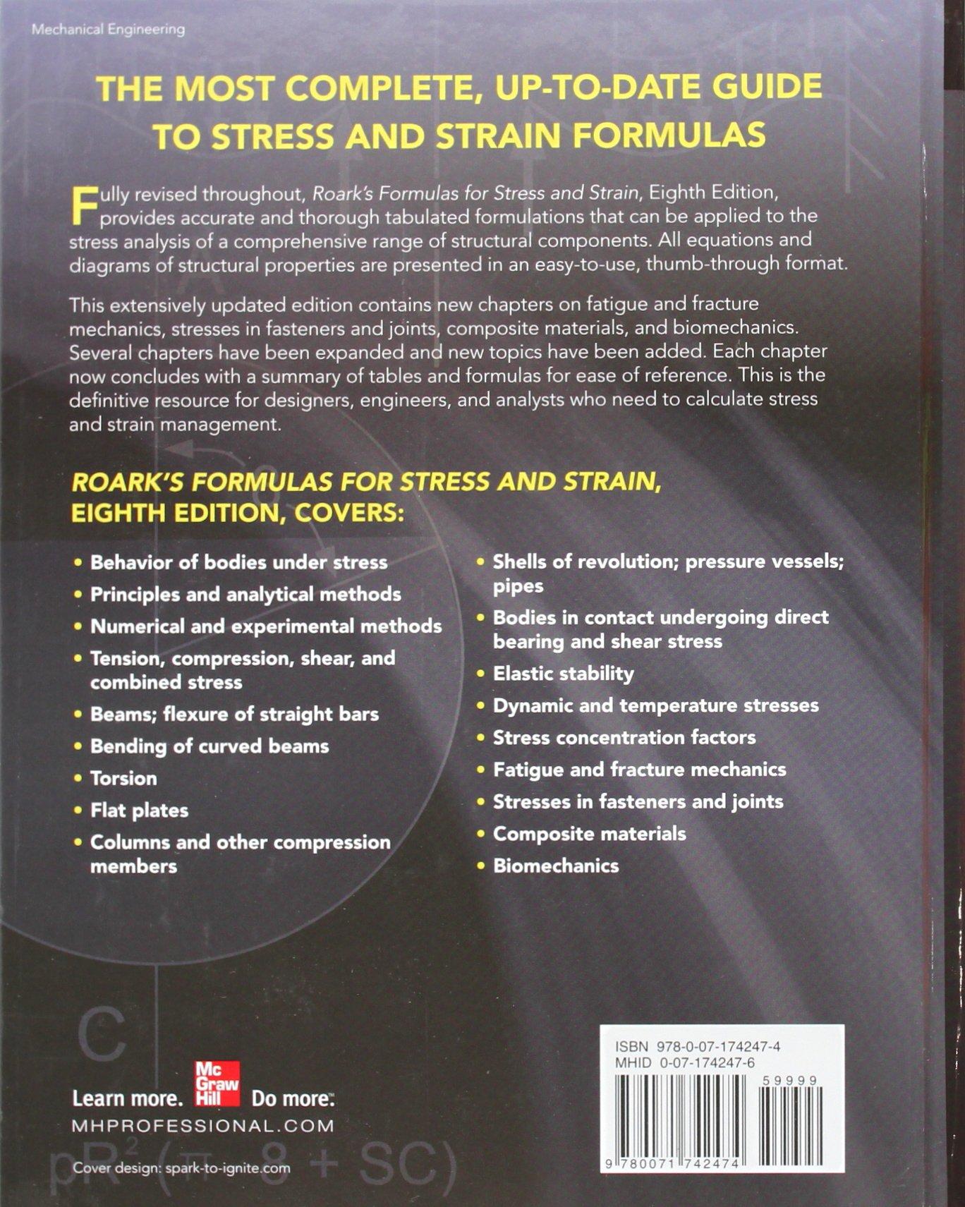 Roarks Formulas For Stress And Strain Warren C Young Beam Diagram Richard G Budynas Ali Sadegh Fremdsprachige Bcher