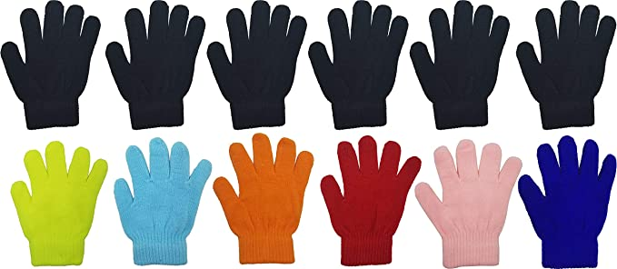 Kids Childrens Girls Boys Neon Color Stretchy Magic Warm Winter Thermal Gloves