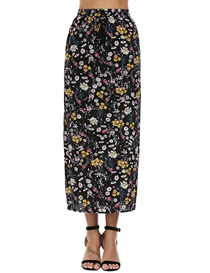ece3008557672 Chigant Women Vintage Elephant Printed Front Button Beach Midi Long Skirt