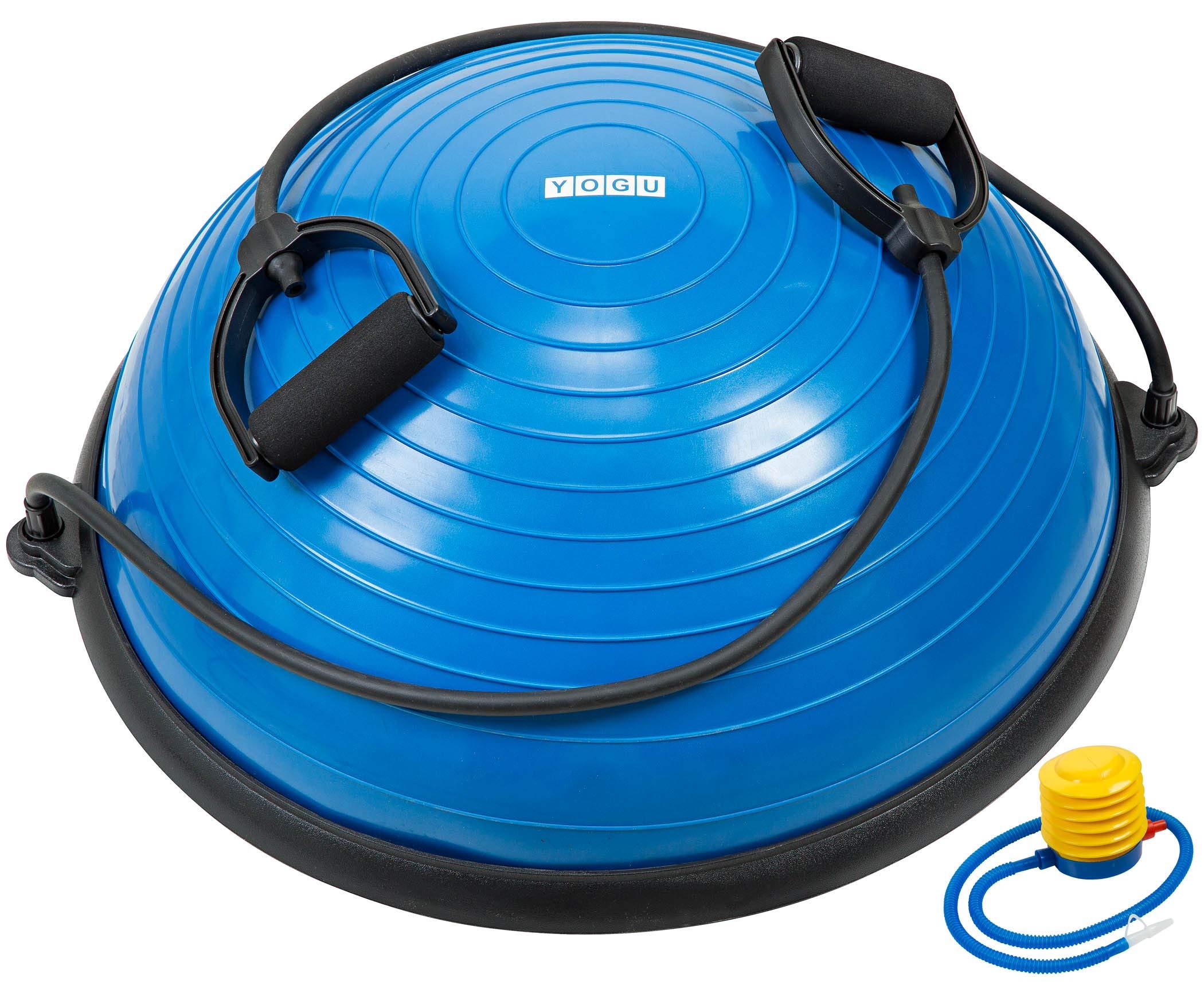 YOGU Balance Trainer Exercise Yoga Ball Trainer w/ 2 Resistance Bands & Pump (Blue)