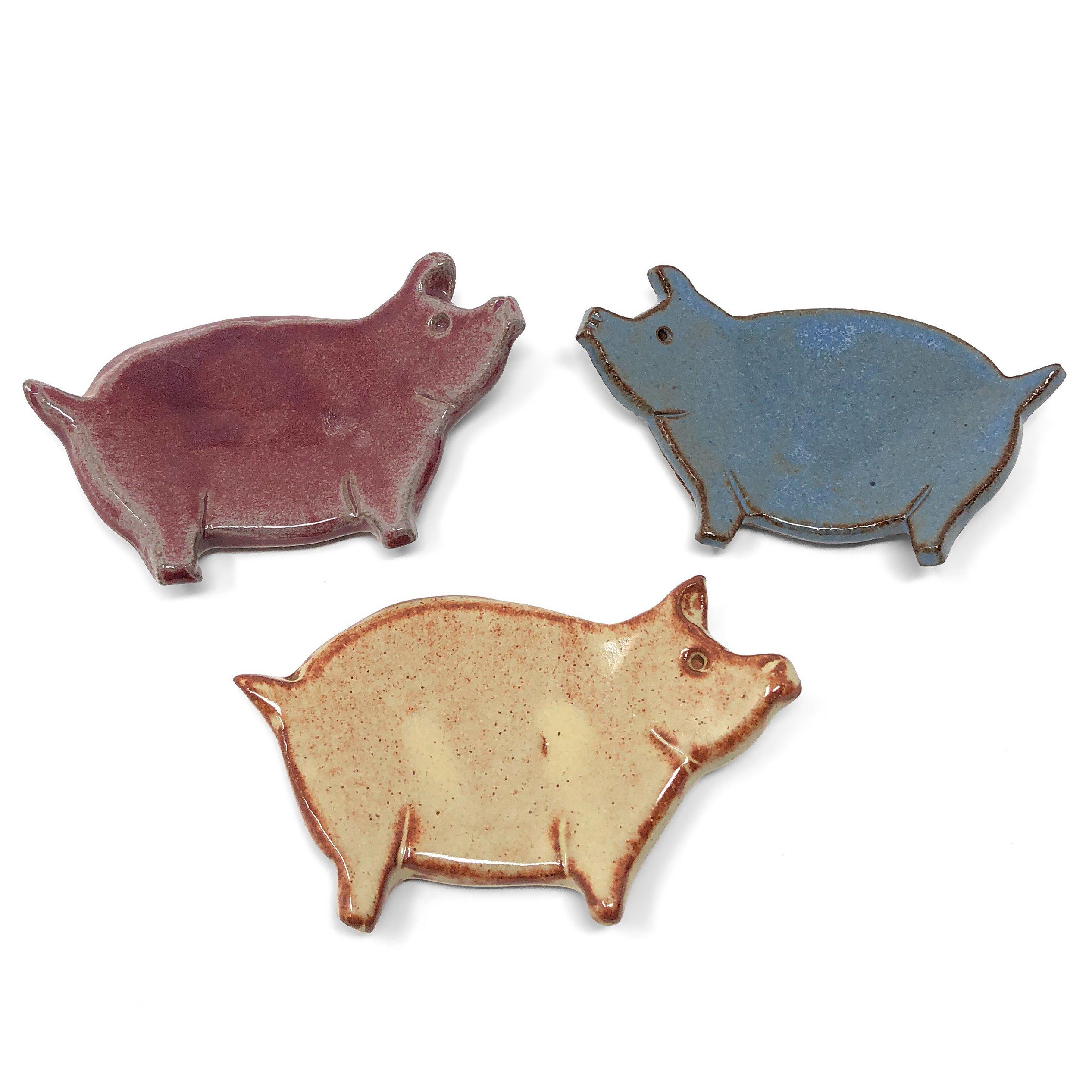 MudWorks Pottery Pig Tea Bag Coasters Trinket Plates, Set of 3