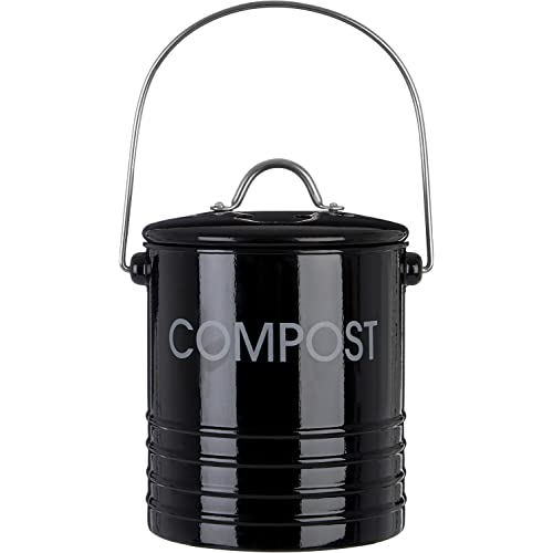 Premier Housewares Compost Bin with Handle - Black
