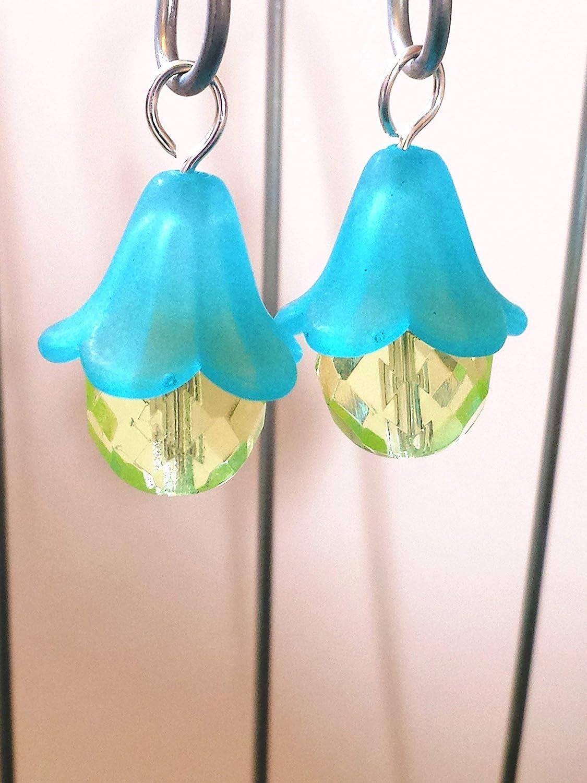 Set of 4 Dollhouse Terrarium D/écor. Fairy Garden Accessories Blue Hanging Miniature Lanterns