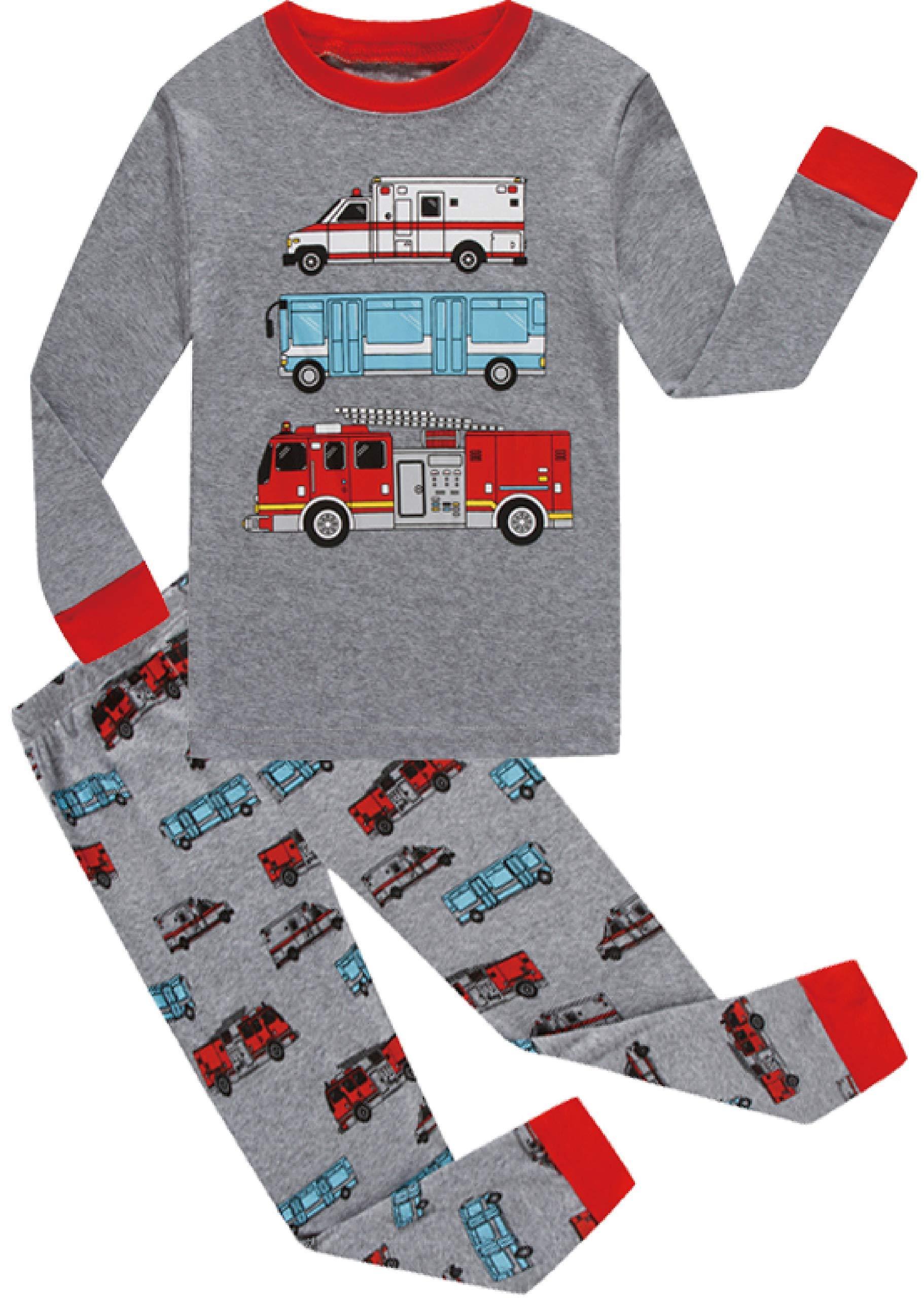 Boys Christmas Pajamas Set Toddle Car Cotton Sleepwear Kids Casual Wear 6t