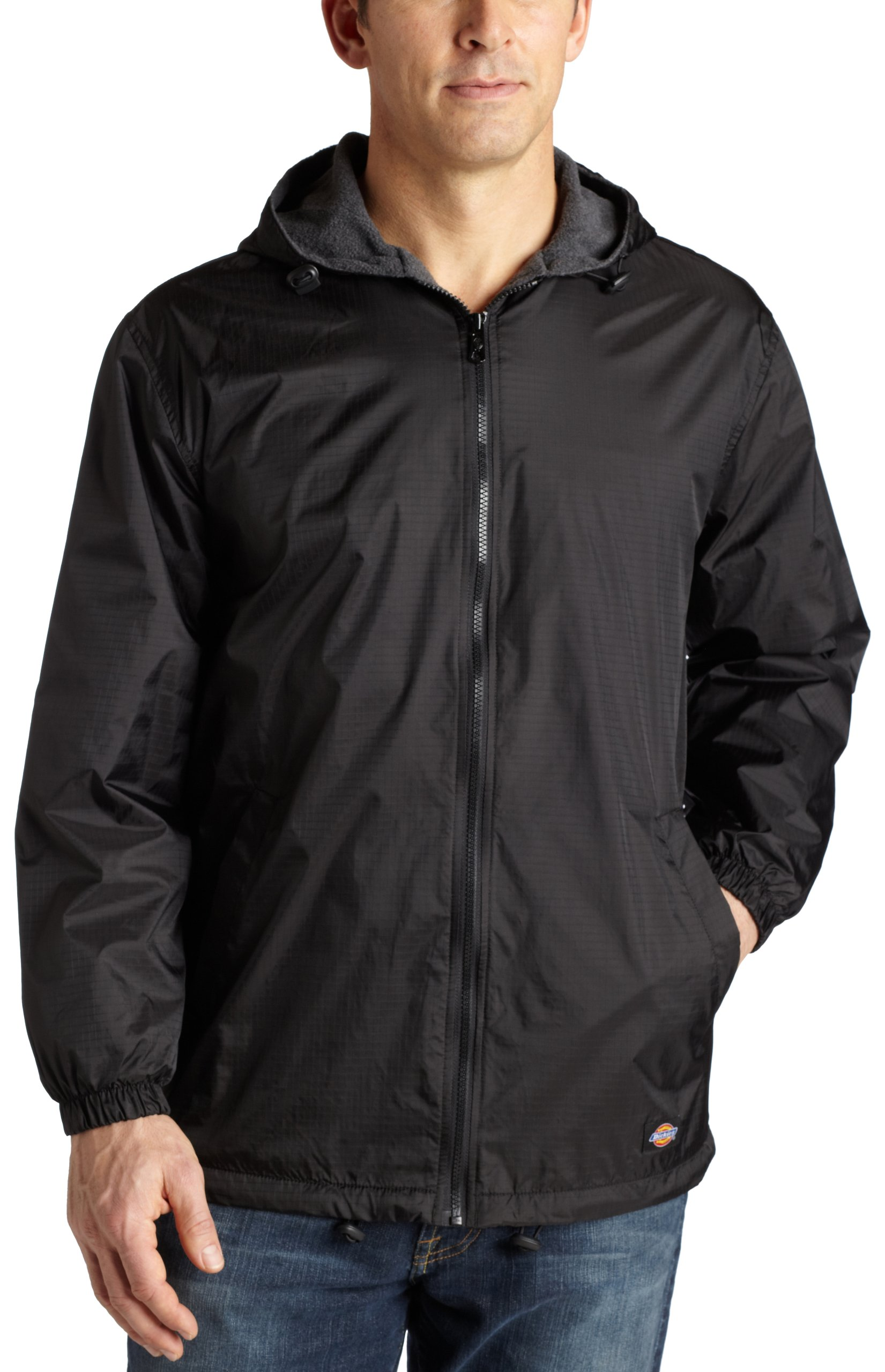 Dickies Men's Fleece Lined Hooded Jacket, Black, 3XL