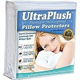 "UltraPlush Premium Waterproof Pillow Protector - Hypoallergenic & Bed Bug Proof Zippered Pillow Case - 2 Pack - Super Soft & Quiet (Standard Size 20"" x 26"")"