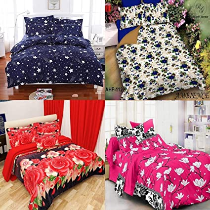 Urban Home Floral Glace Cotton Double Bedsheet, Combo Set of 4 Bedsheets and 2 Pillow Covers Each,King Size,Multi-coloured