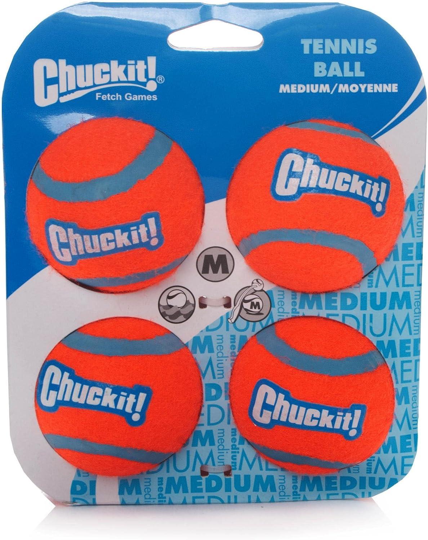 Chuckit perro pelota de tenis (Tamaño Mediano, 6,5cm, 4unidades ...