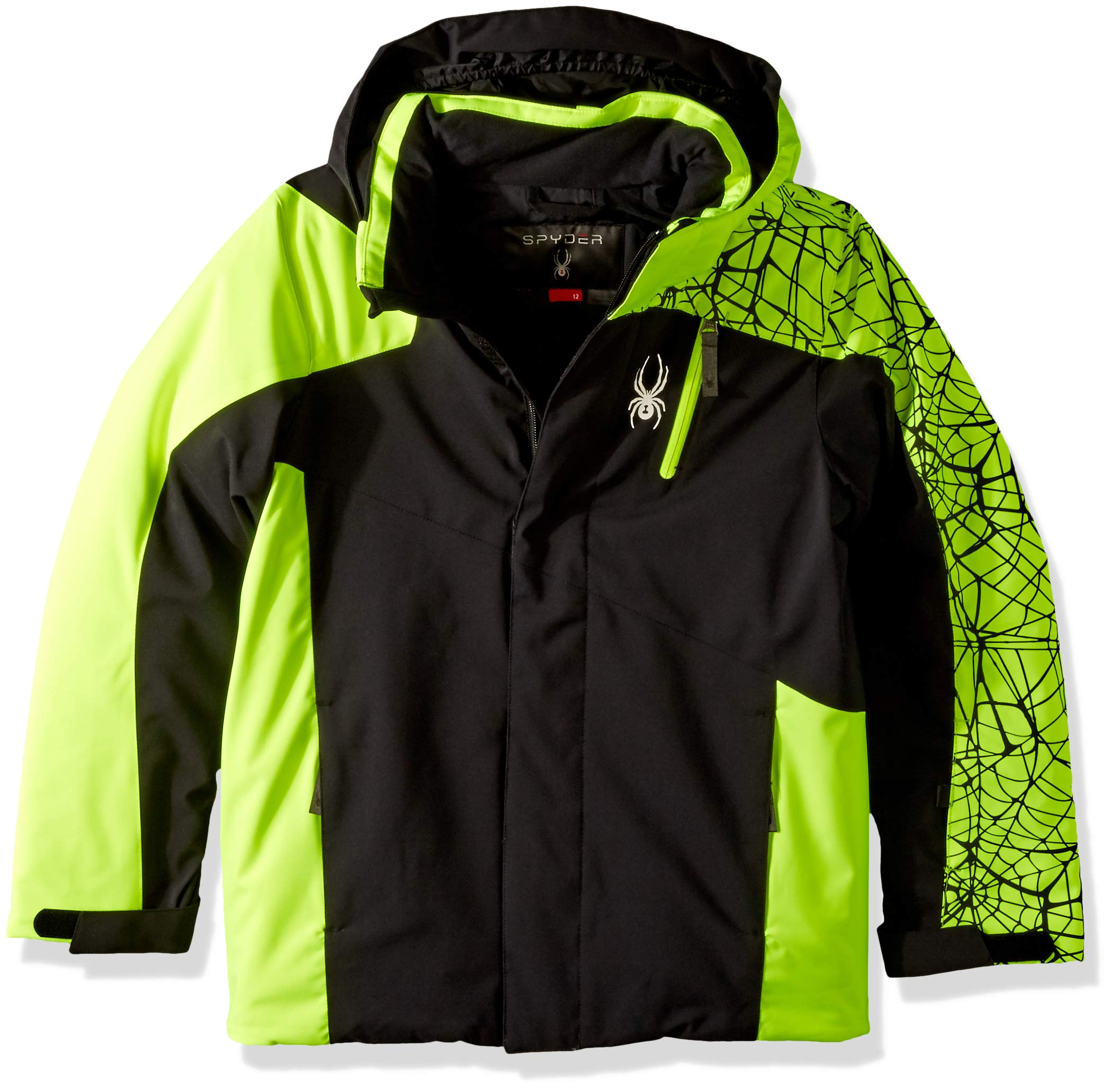 Spyder Boys' Guard Ski Jacket, Black/Bryte Yellow, Size 14