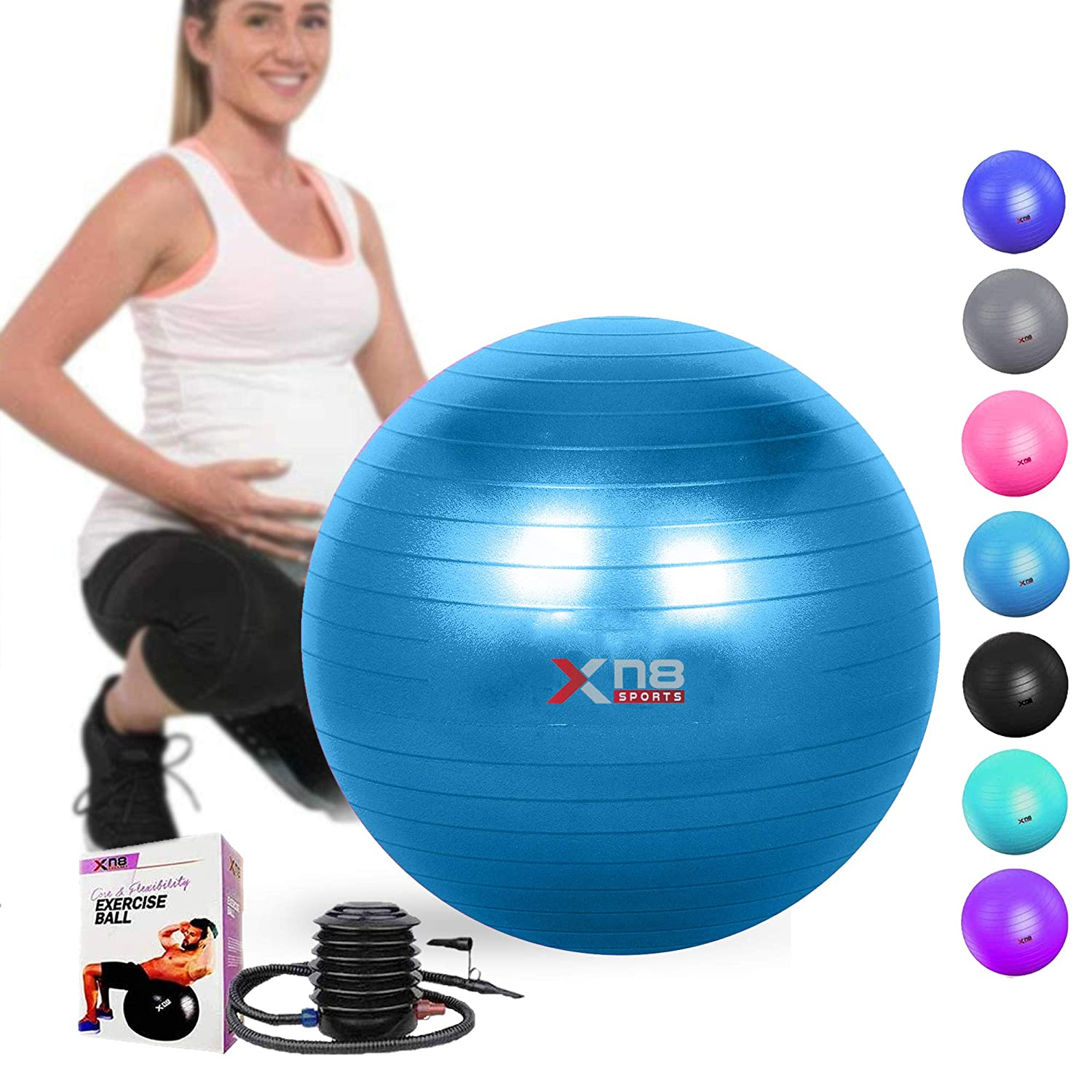 Xn8 Sports - Pelota de yoga, 75 cm, antiexplosiones, ideal para ...