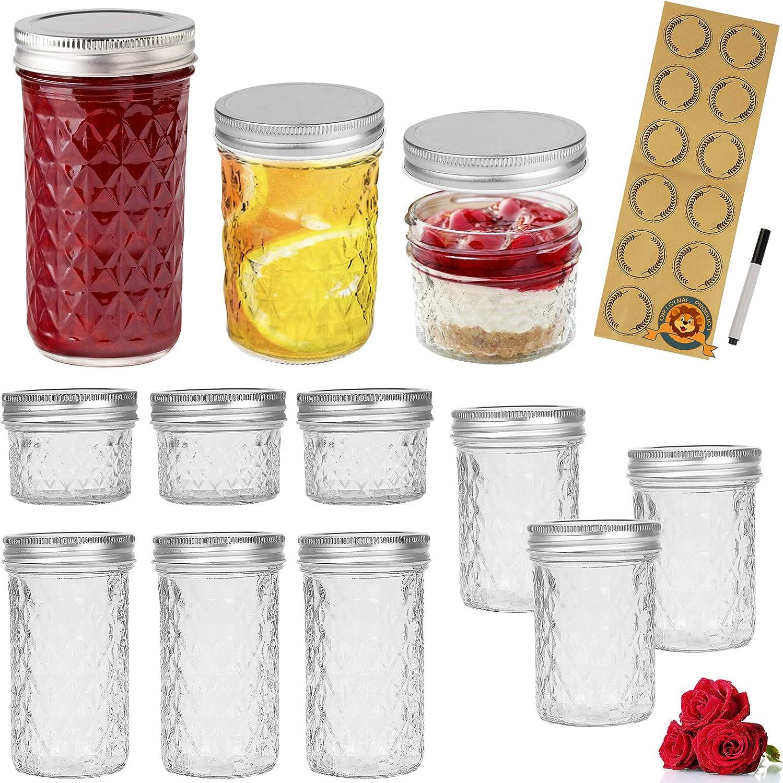 LovoIn Mason Jars Canning Jars, Jelly Jars With Regular Lids, Ideal for Jam, Honey, Wedding Favors, Shower Favors, Baby Foods, DIY Magnetic Spice Jars, 4 OZ x 3, 6 OZ x 3, 8 OZ x 3