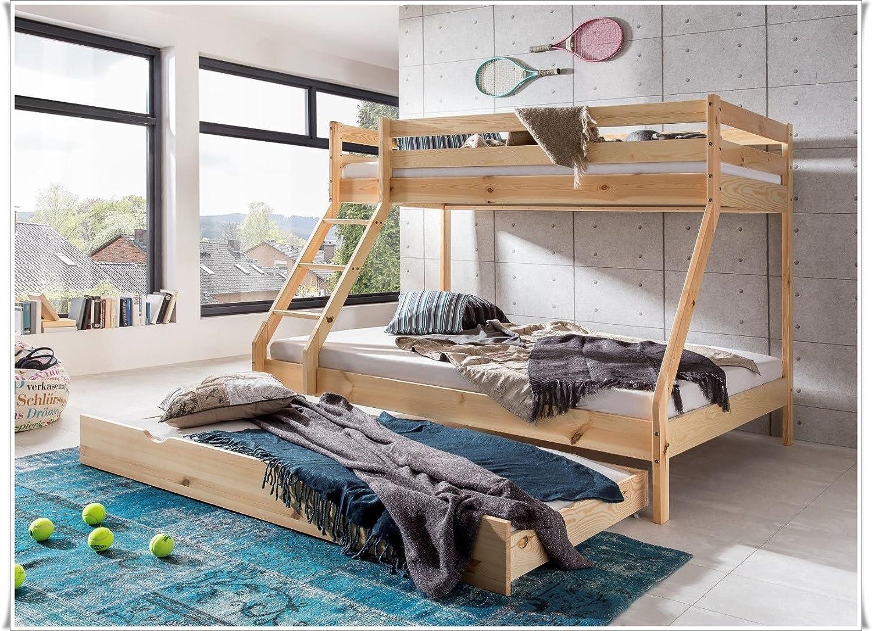 90 x 200 cm e 140 x 200 cm in legno di pino naturale Letto a castello per bambini