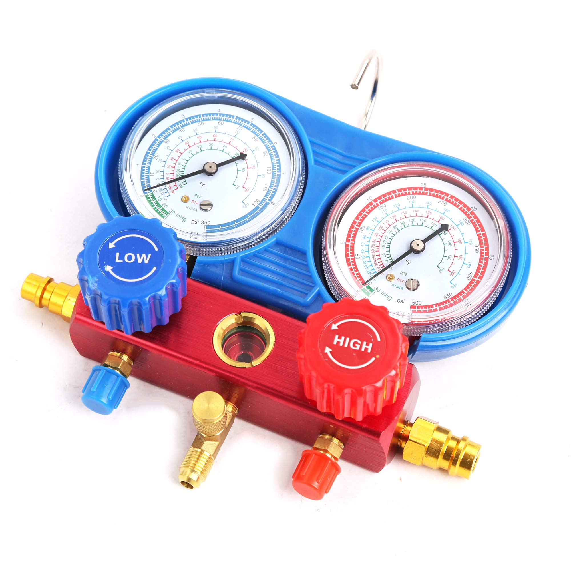 WIN.MAX Professional A/C Air Conditioner Refrigerant Manifold Gauge Kit Set R134a/R22/R12 HVAC + KapscoMoto Keychain by WIN.MAX (Image #5)