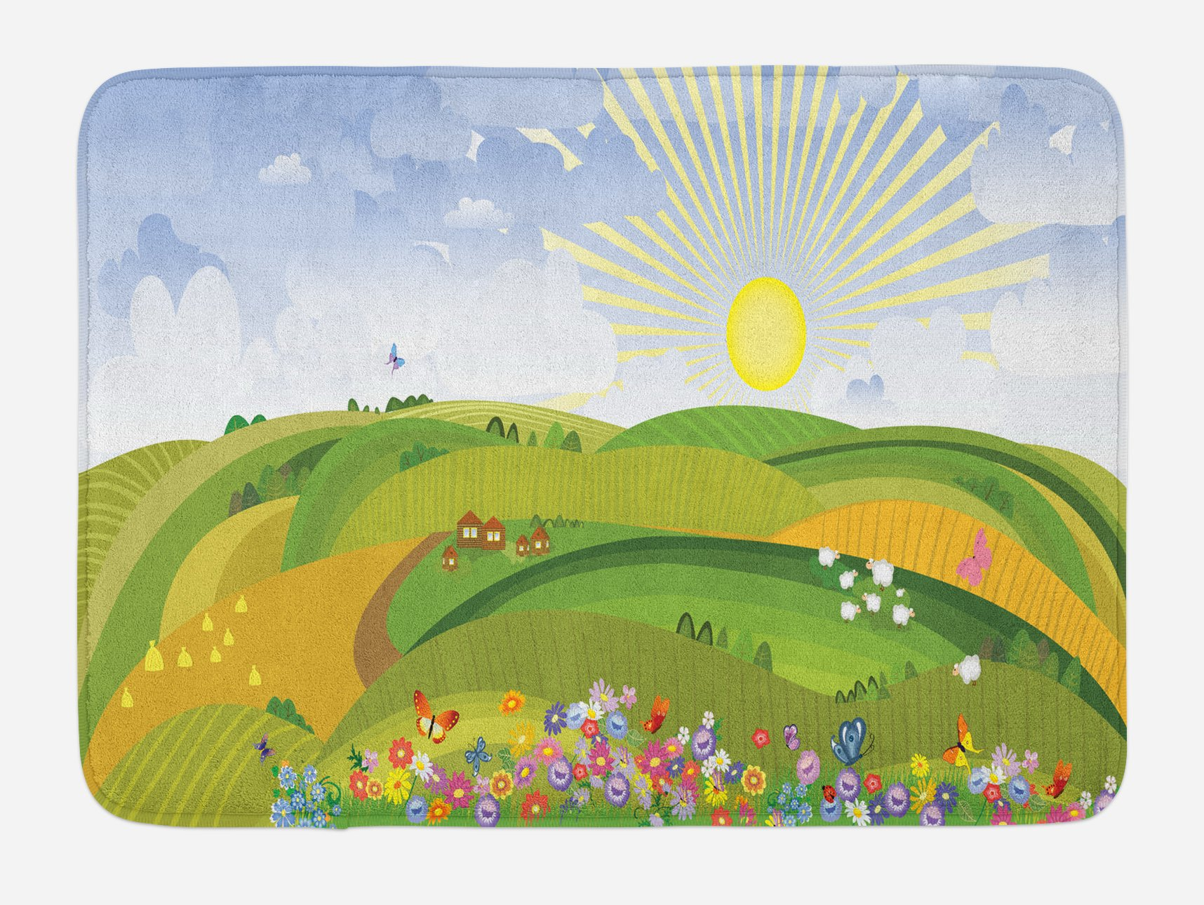 Lunarable Country Bath Mat, Rural Landscape Image with Green Fields Floral Gardens Houses and Sheep Animal Farm, Plush Bathroom Decor Mat with Non Slip Backing, 29.5 W X 17.5 W Inches, Multicolor