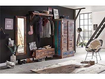 Woodkings Flurset Akazie Massiv Flurmobel Set Vintage Spiegel