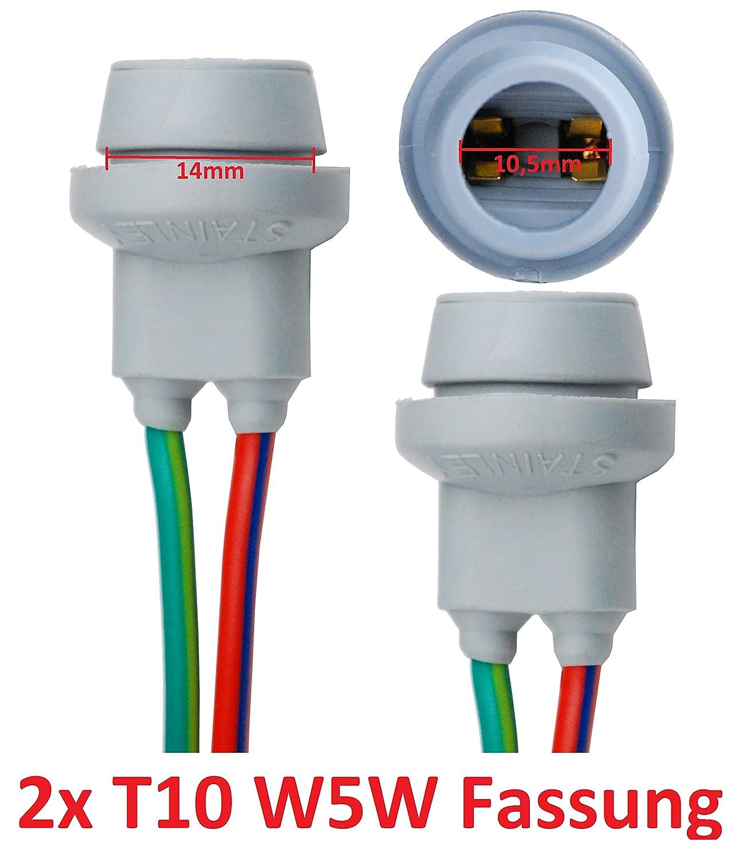 L & P B578 2 x T10 W5 W CULOT Lampes Douille Culot de lampe en caoutchouc Base en verre en caoutchouc pour W2, 1 x 9, 5d Ampoule Ampoules Lampes 1x 9 L&P Car Design GmbH