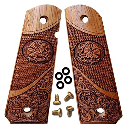 1911 Grips Solid Wood Fits Full Size, Government, Commander Custom Grips  Colt, Springfield, Kimber, Sig, RIA Rosewood Eagle Design