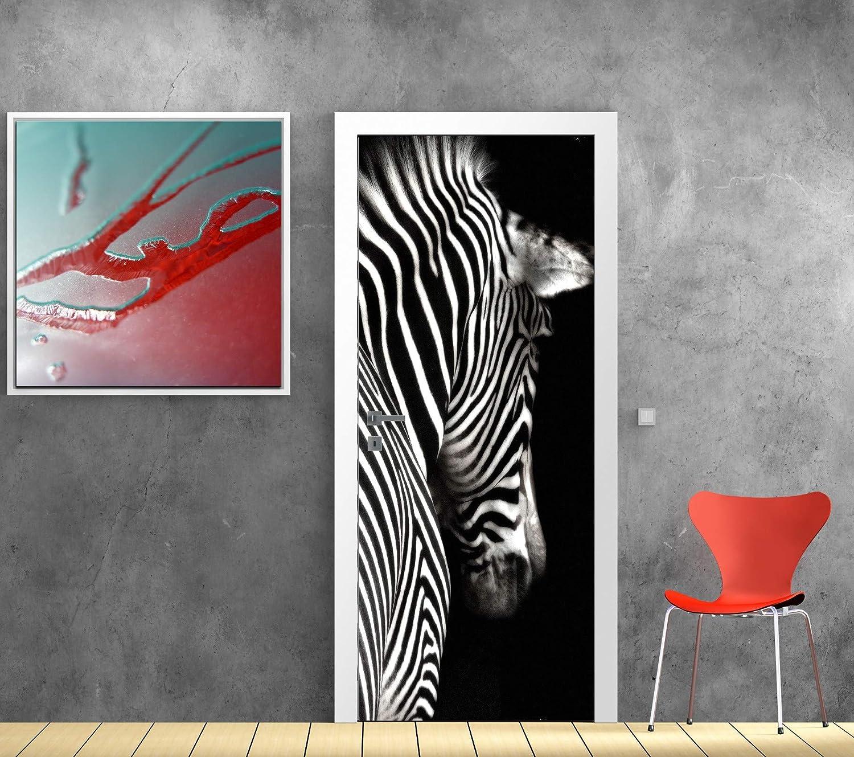 Z/èbre Dimensions 83x204cm Papier peint porte d/éco Art D/éco Stickers