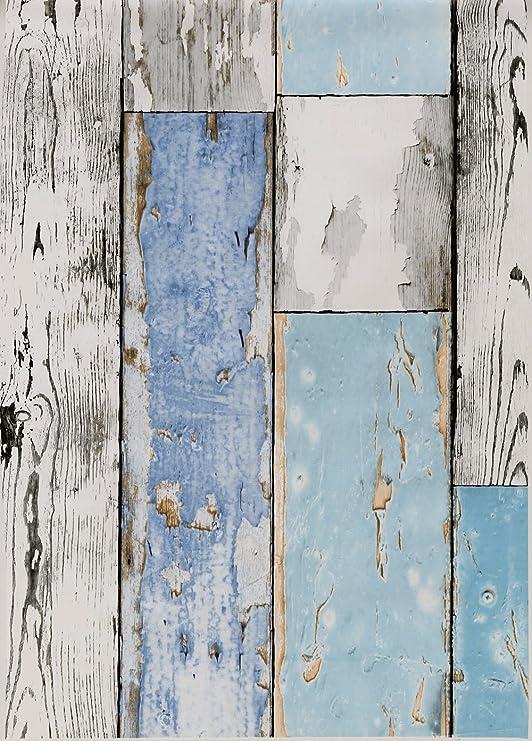 """Hule """"Scrapwood"""" (diseño de madera desconchada) para de mesa de ..."""
