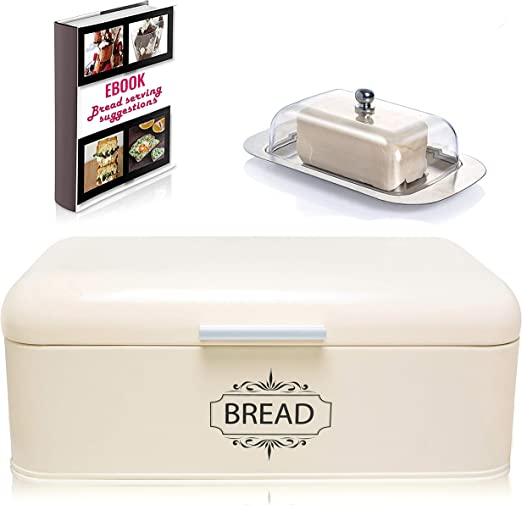 Amazon Com Vintage Bread Box For Kitchen Stainless Steel Metal In Retro Cream Free Butter Dish Free Bread Serving Suggestions Ebook Large Bread Bin Storage 16 5 X 9 X 6 5