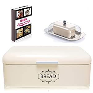 """Vintage Bread Box For Kitchen Stainless Steel Metal in Retro Cream Off White + FREE Butter Dish + FREE Bread Serving Suggestions eBook 16.5"""" x 9"""" x 6.5"""" Large Bread Bin storage by All-Green Products"""