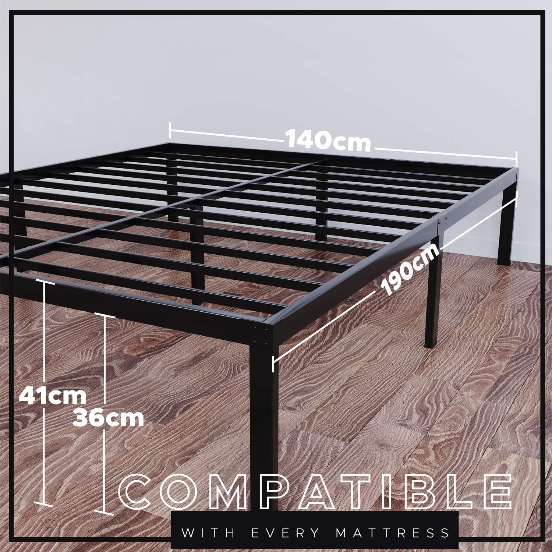 Dreamzie - Somier 140 x 190cm con Patas de 36cm - Bastidor de Cama Individual Plegable Metálico - Montaje Sencillo - Resistente