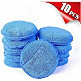 """AIVS Car Care Microfiber Wax Applicator Pads with Finger Pocket for Any Cars, Truck, Boat, Motorcycle and RV. Wax Applicator Foam Sponge (Blue, 5"""" Diameter, Pack of 10)"""