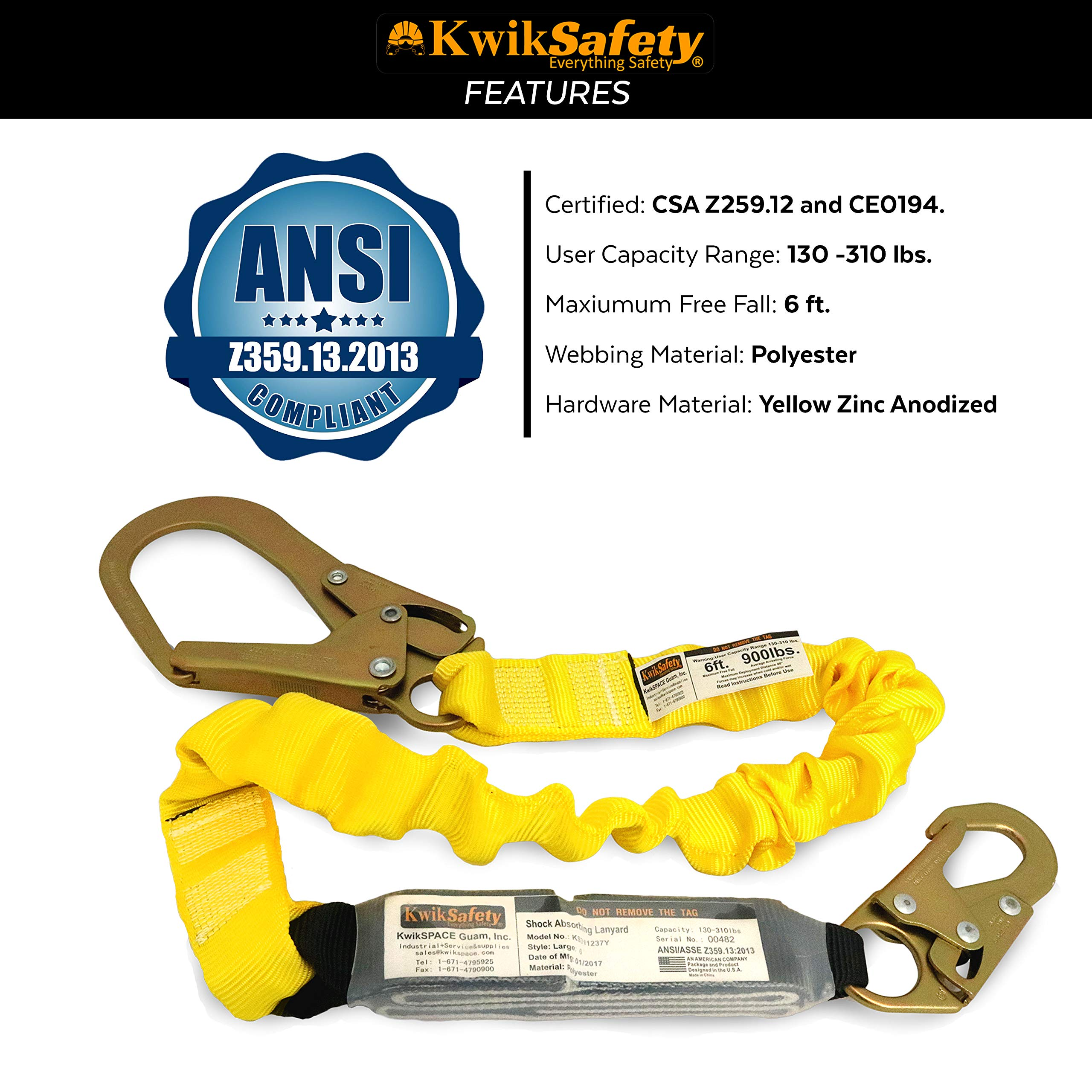 KwikSafety (Charlotte, NC) BOA 4 PACK (External Shock Absorber) Single Leg 6ft Safety Lanyard OSHA ANSI Fall Protection Restraint Equipment Snap Rebar Hook Connectors Construction Arborist Roofing by KwikSafety (Image #6)