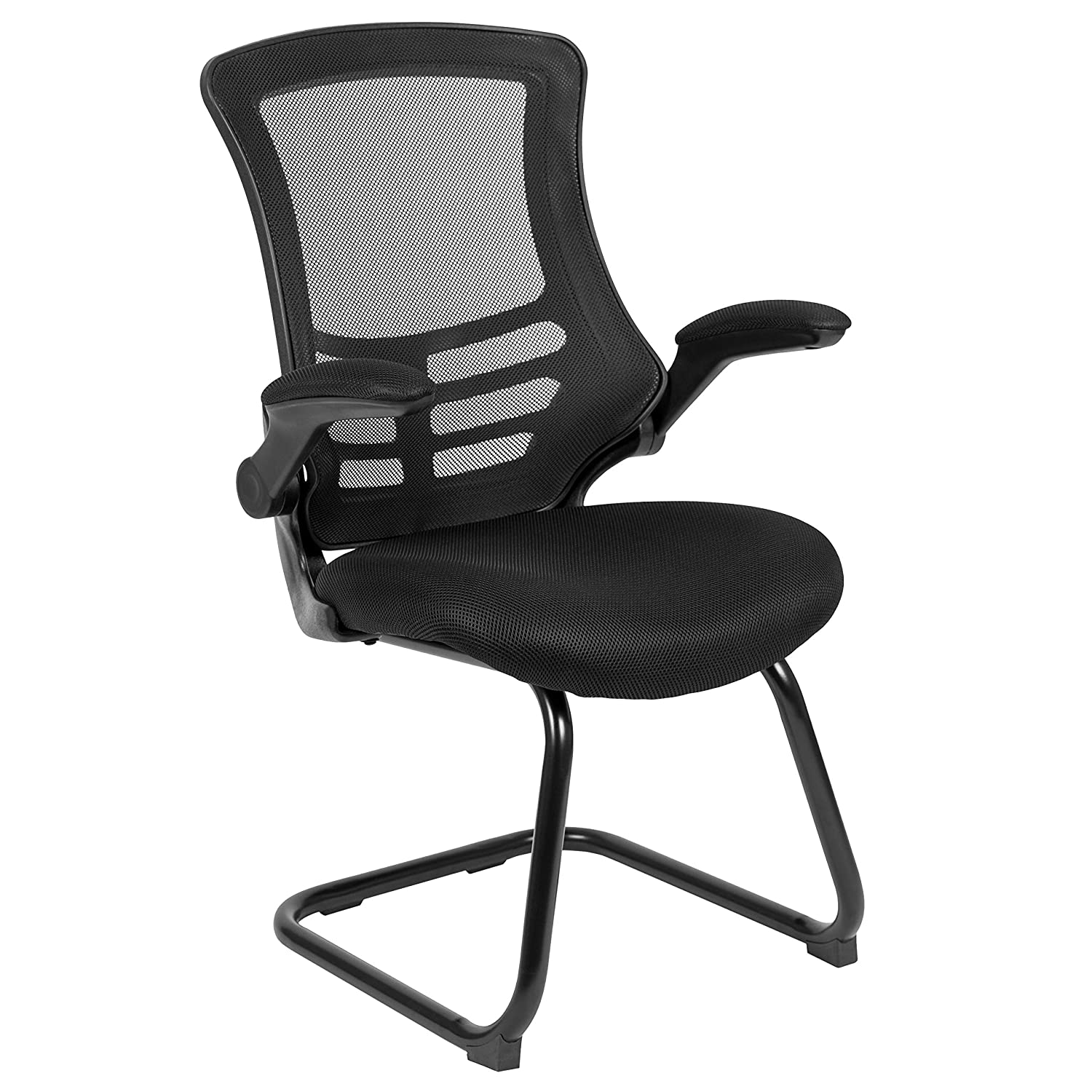 Flash Furniture Black Mesh Sled Base Side Reception Chair with Flip-Up Arms -